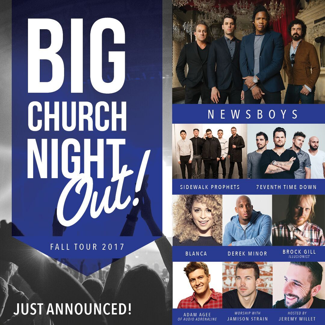CONCERT ANNOUNCEMENT: Big Church Night Out at JQH on 12/1.