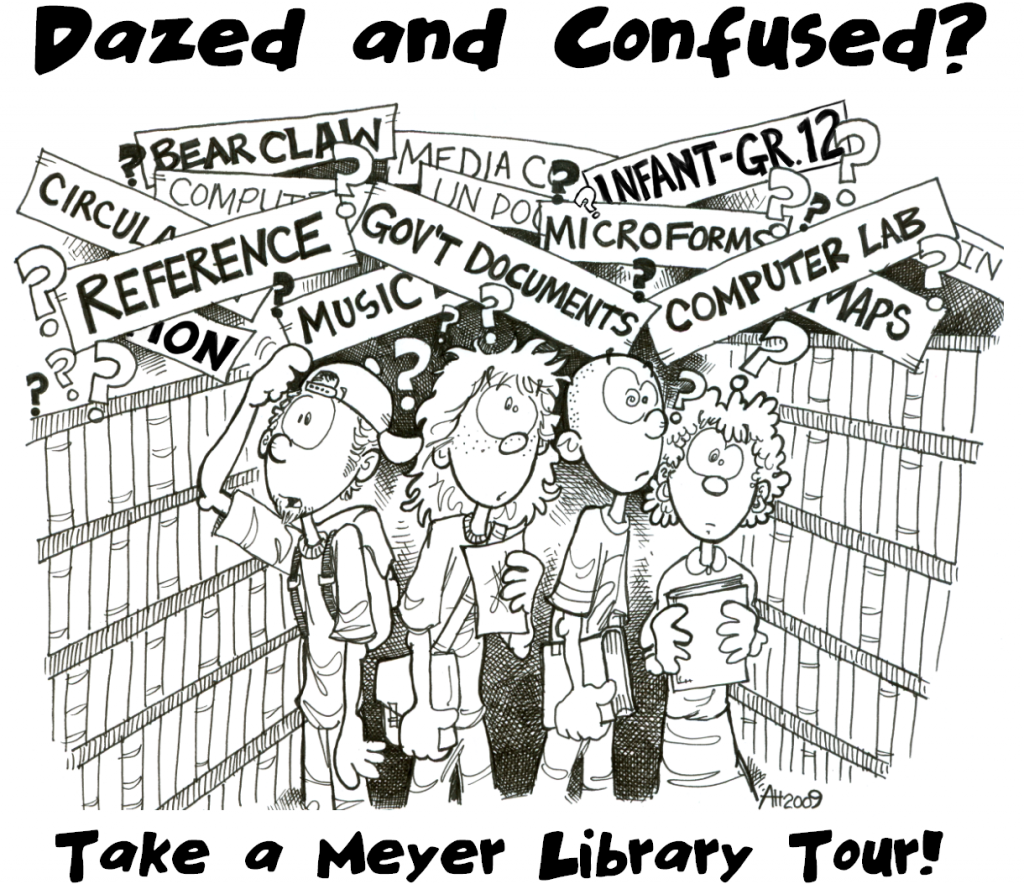 Cartoon drawing of dazed and confused patrons. Captioned with Take a Library Tour.