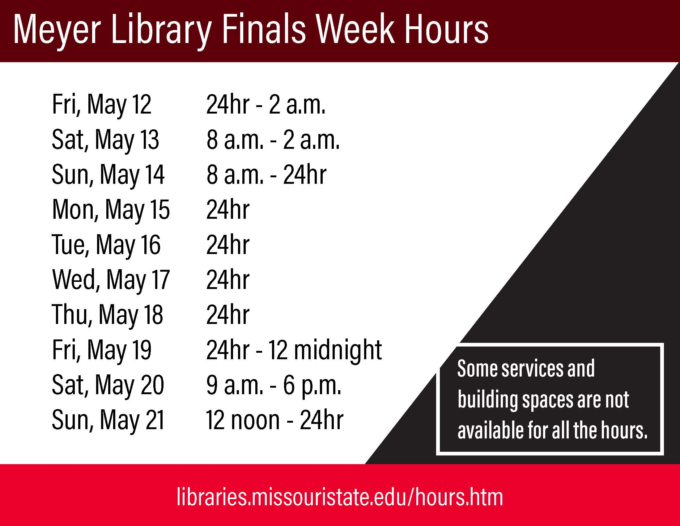 Meyer Library Finals Week Schedule