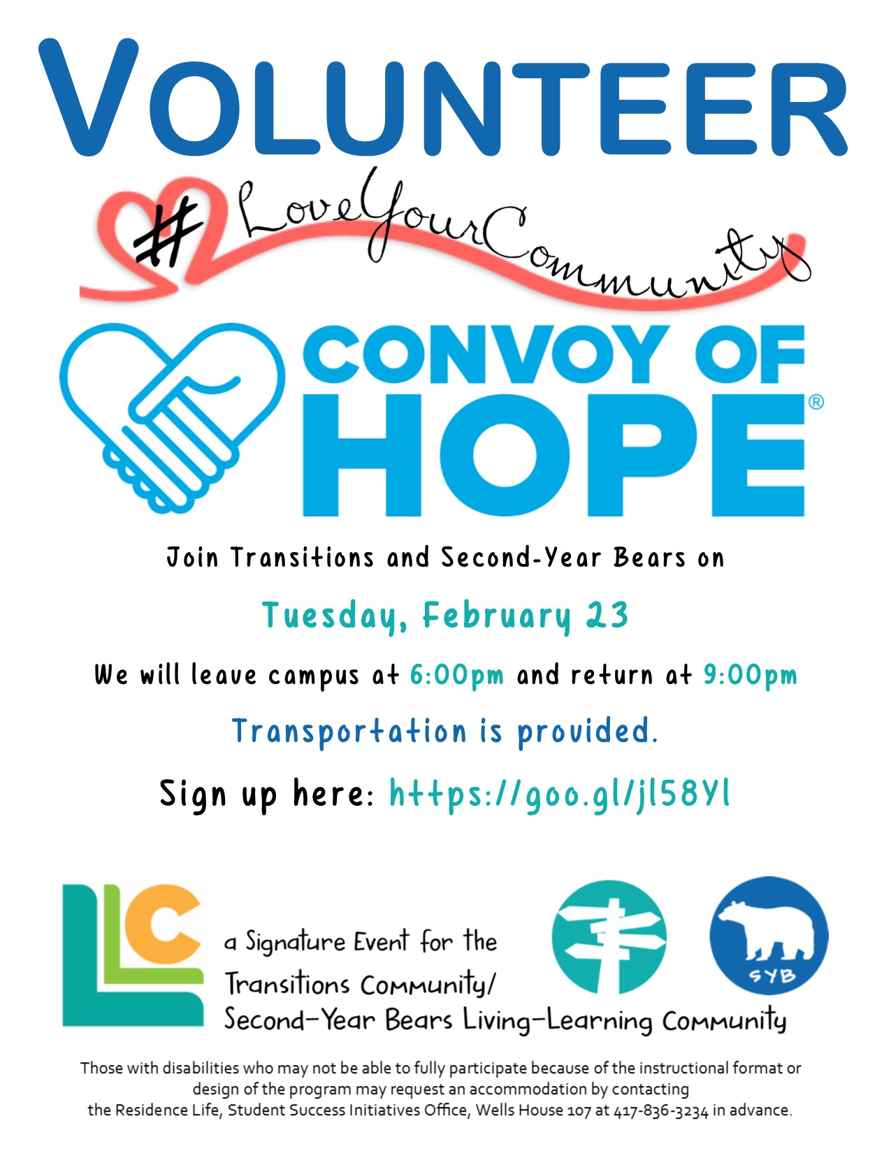 Transitions & Second-Year Bears Volunteer Convoy of Hope