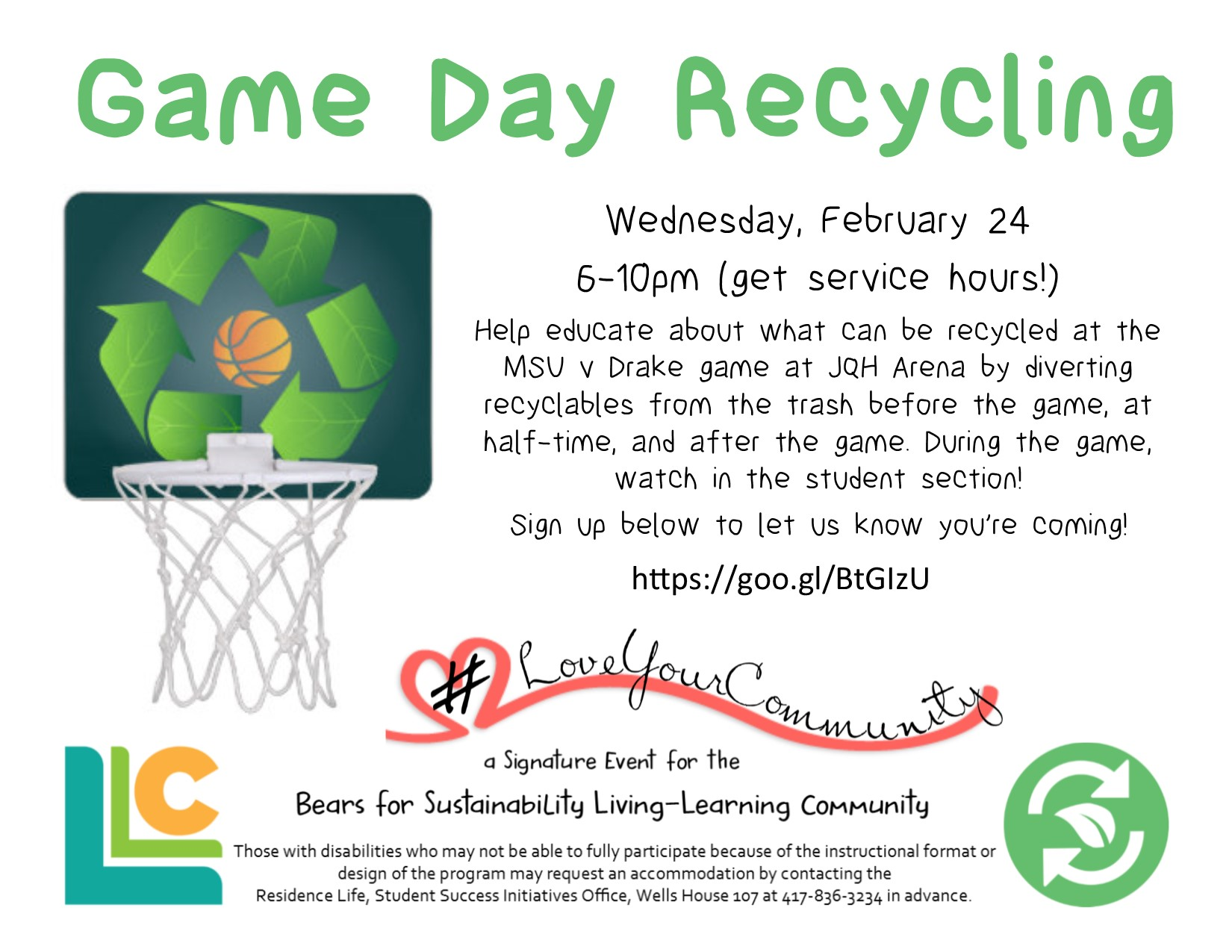 Bears for Sustainability Game Day Recycling
