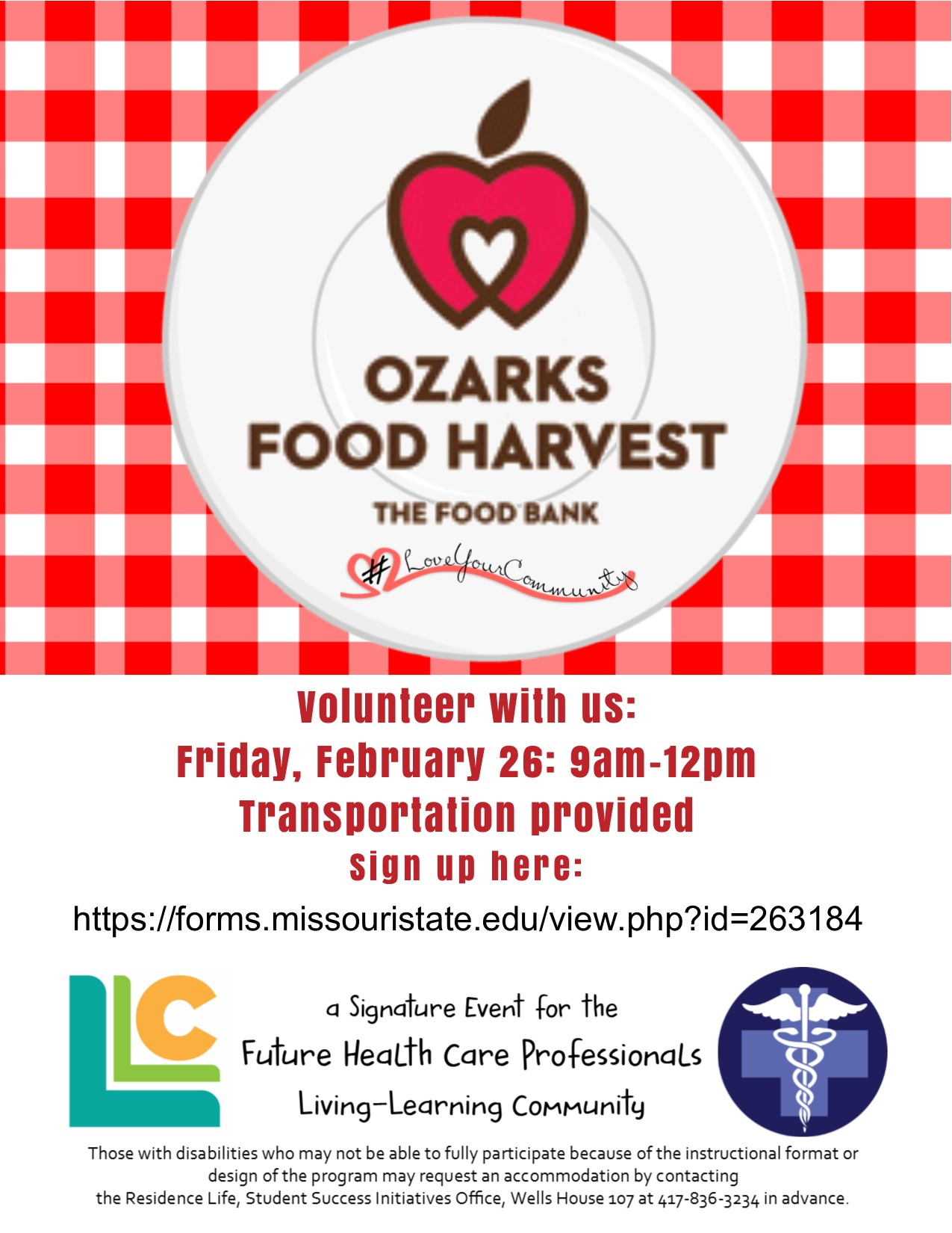 Future Health Care Professionals: Ozarks Food Harvest Volunteer Opportunity!