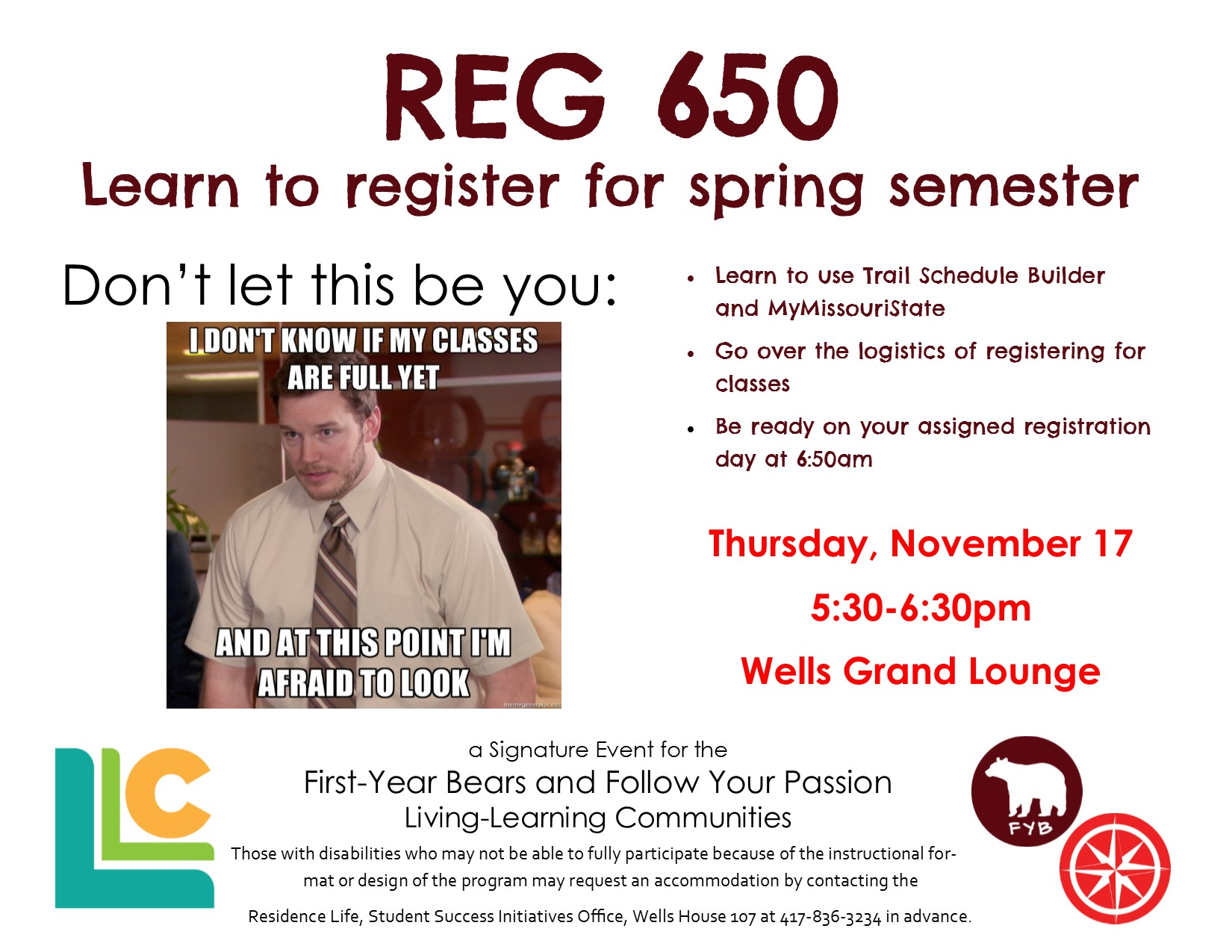 First-Year Bears and Follow Your Passion: Reg 650 Wells House