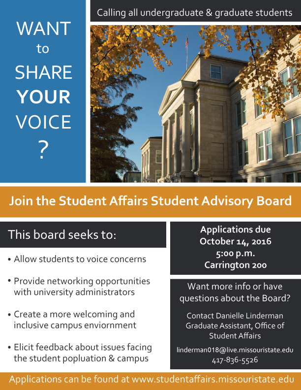 Student Affairs Student Advisory Board Applications due Oct 14