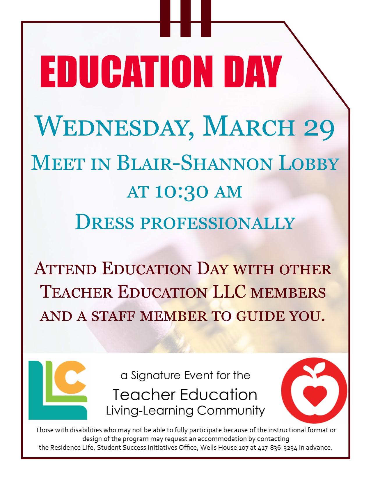 Teacher Education LLC: Education Day