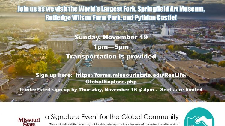 Global Community Explore Springfield – Seats are limited!