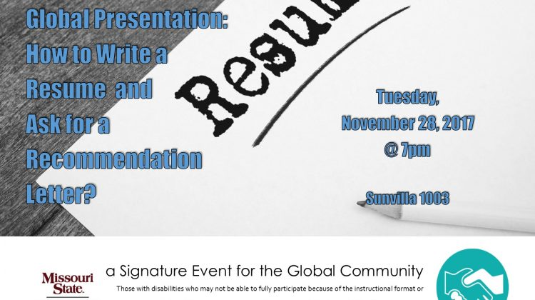 Global Community: How to Write a Resume and Ask for a Recommendation Letter