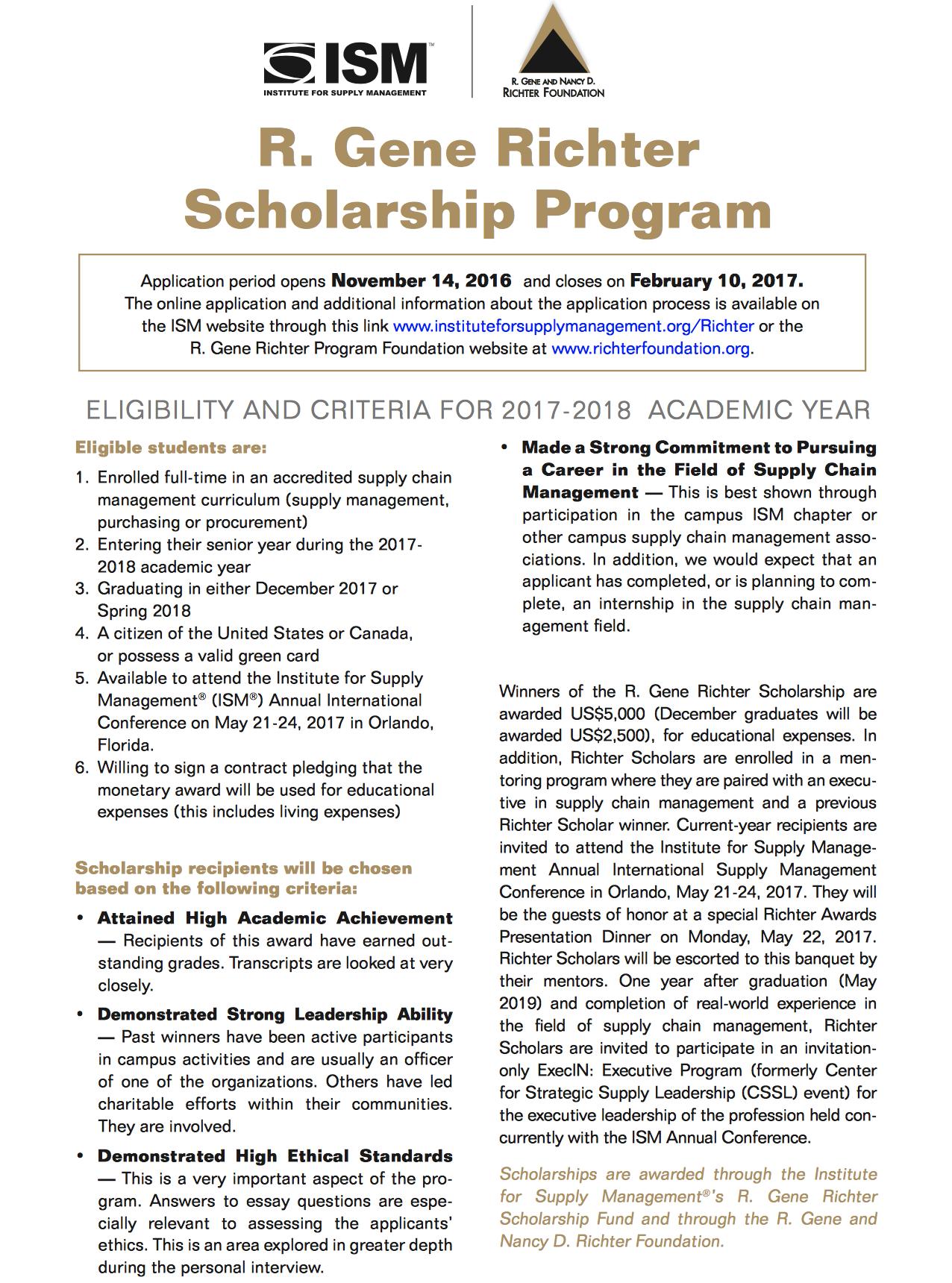 R. Gene Richter Supply Chain Management Scholarship