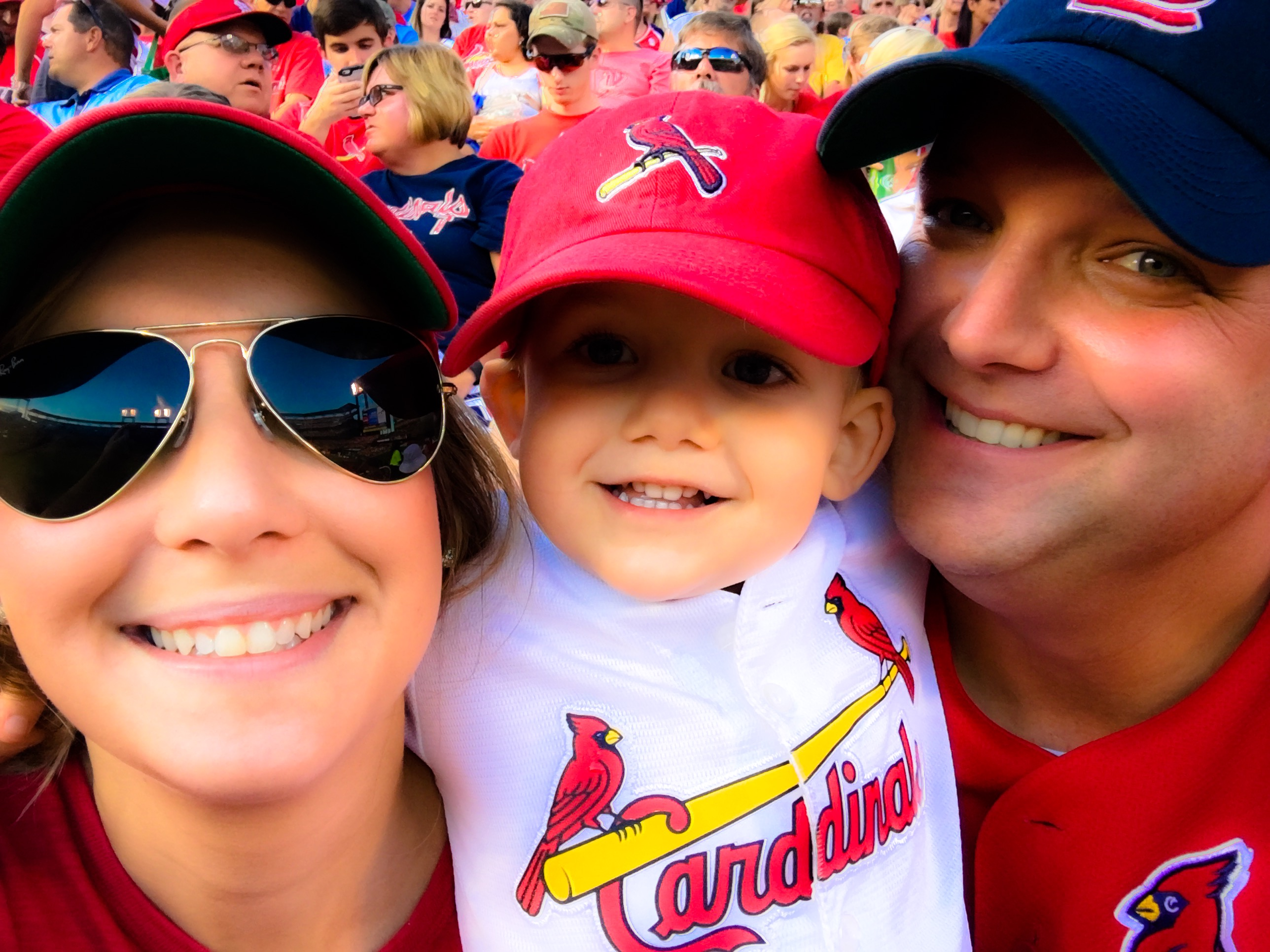 Danielle and her family at a cardinals game