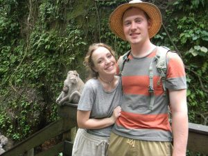 Ryan and Mary Kate with a baboon
