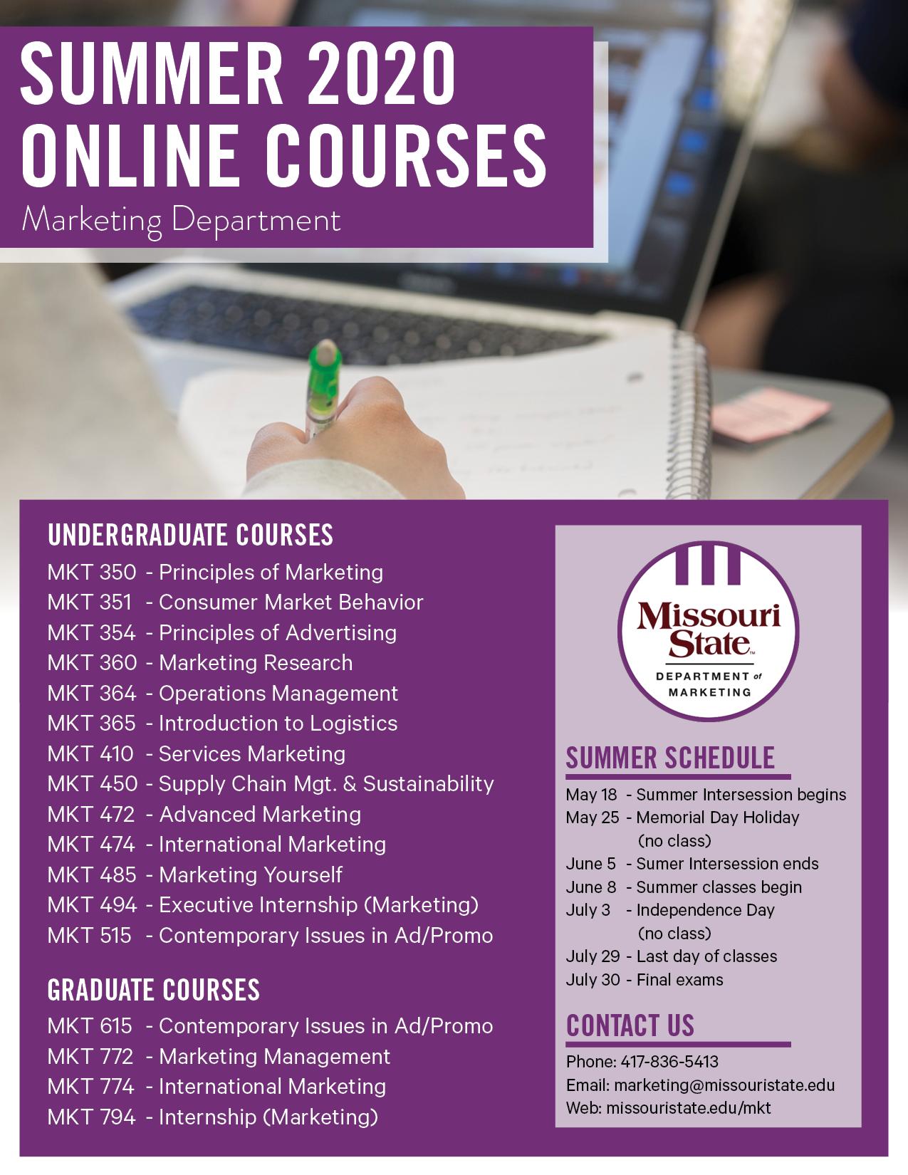 Summer 2020 Online Courses Flyer