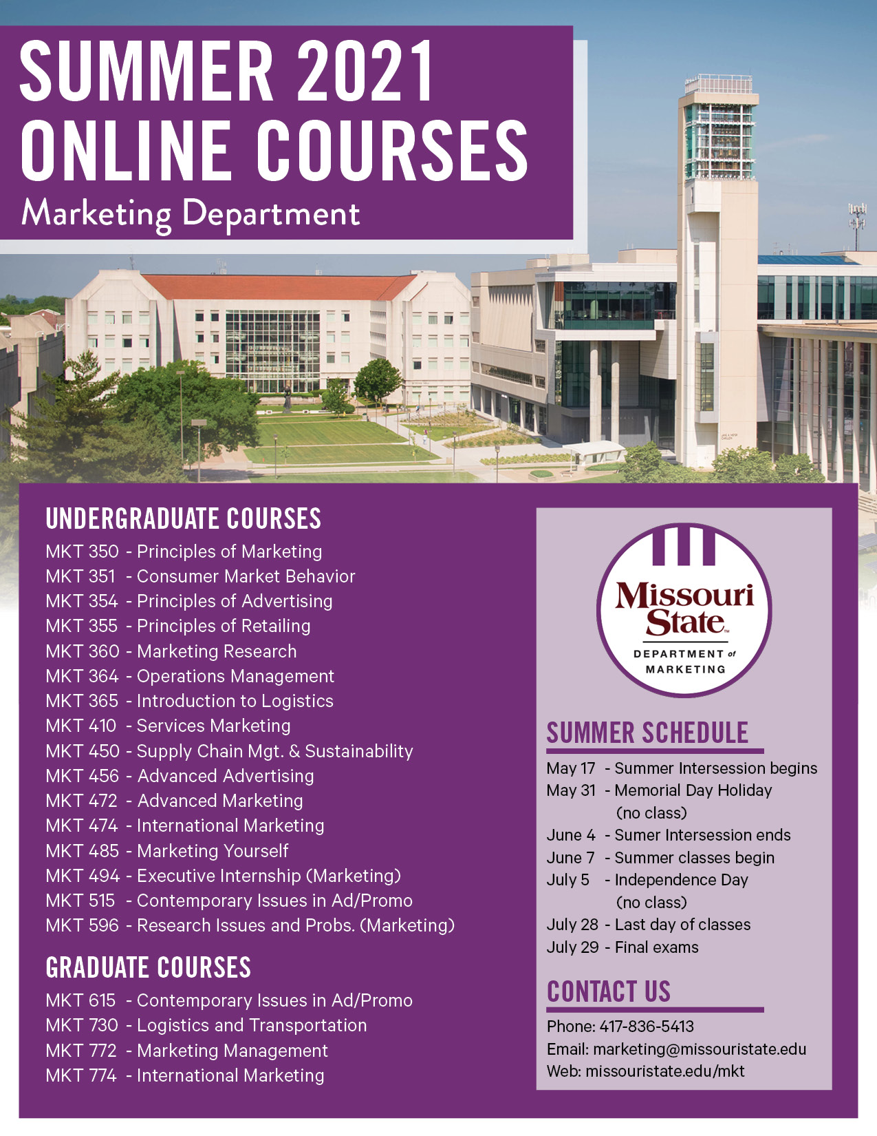Summer courses for summer 2021.