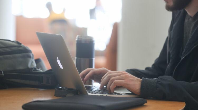 Student using laptop
