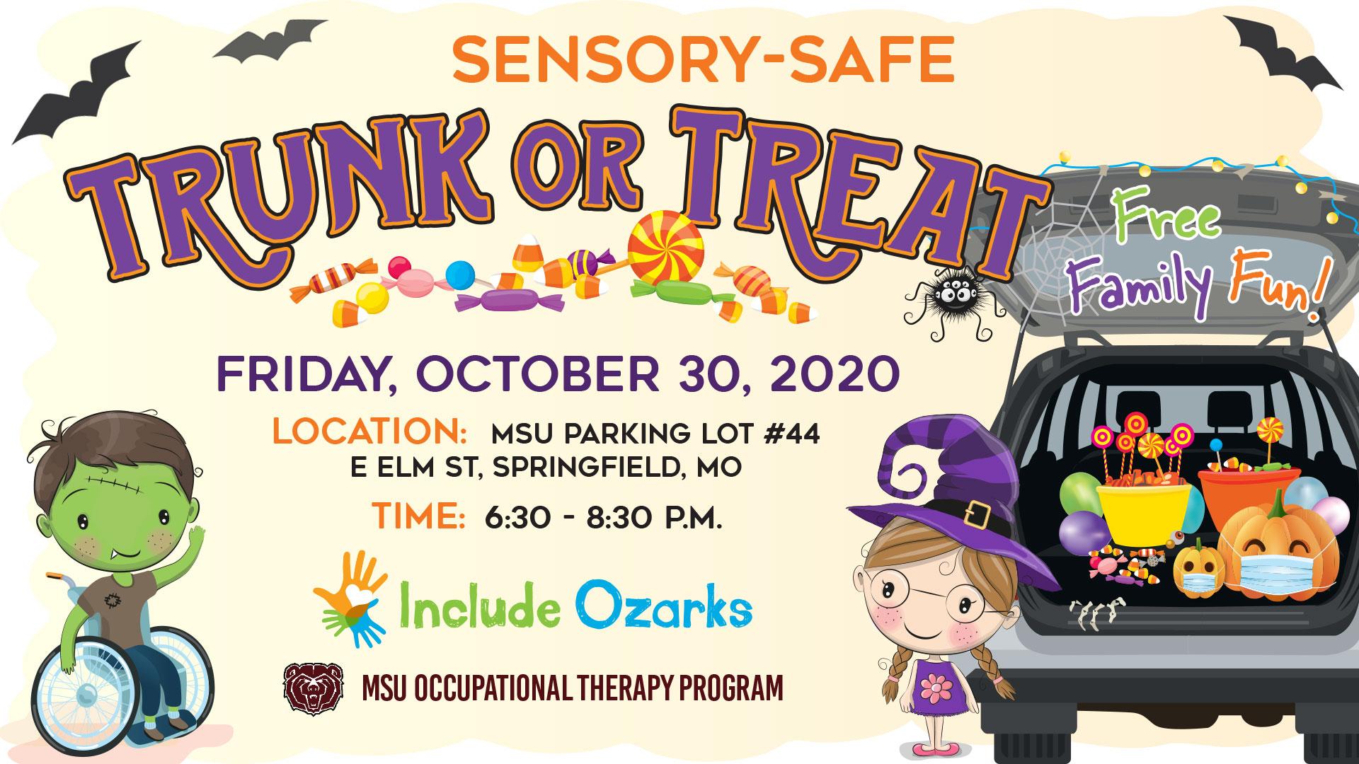Sensory-safe Trunk or Treat: Friday, Oct. 30, MSU lot 44, 6:30-8:30 p,m,