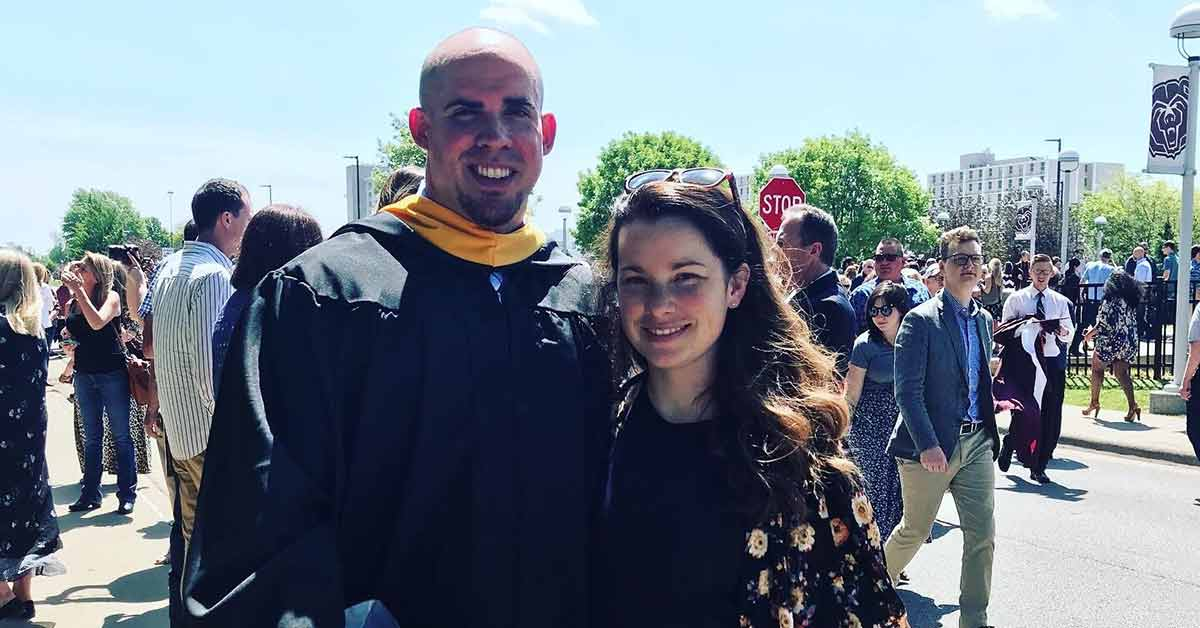 Matt Hancock with spouse on commencement day.