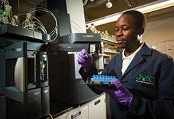 Graduate chemistry student Geoffrey Manani