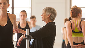 Sara Brummel working with ballet students