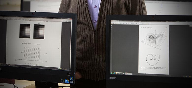 Math equations on computer monitors