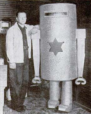 Man standing with robot