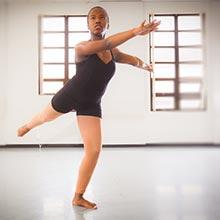 Ballet student rehearsing in studio