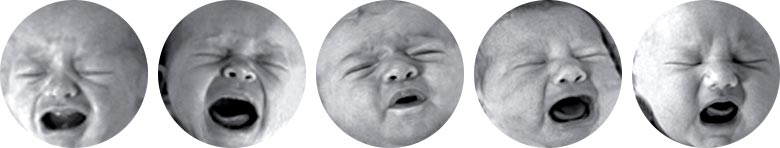 Series of baby facial expressions showing crying with no associated pain