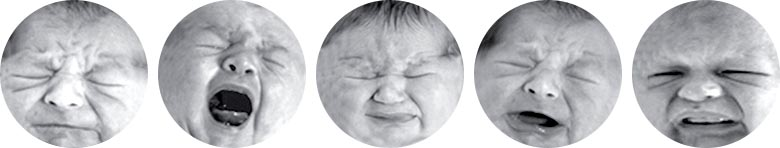 Series of baby facial expressions showing crying due to pain