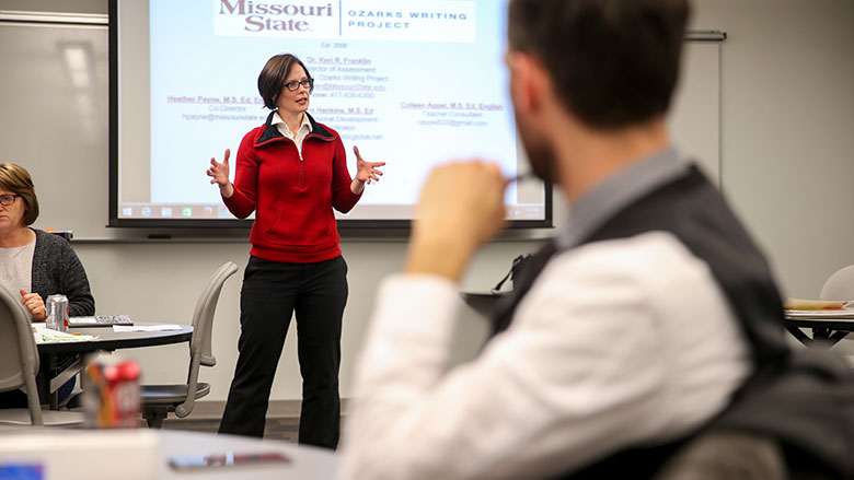 Keri Franklin giving a presentation