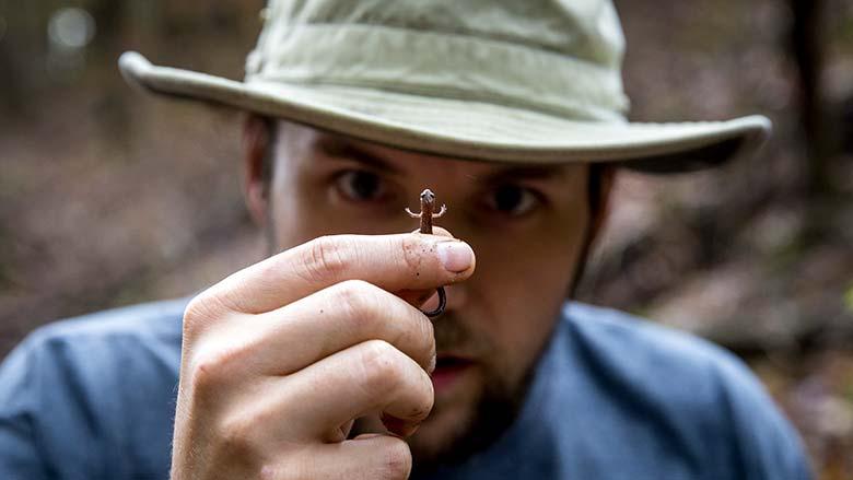Former graduate student Ben Dalton holding and observing a salamander
