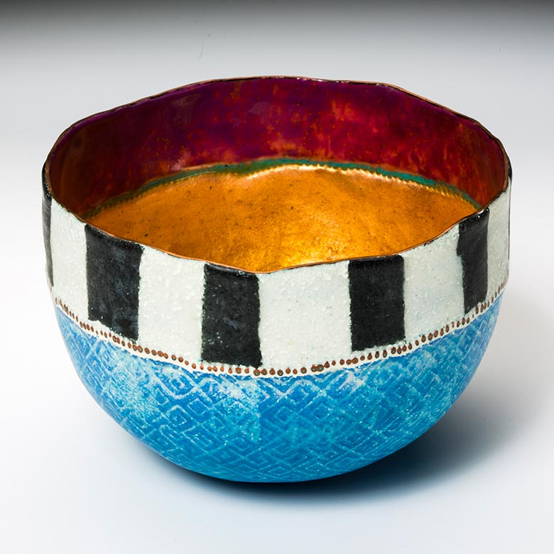 Blue bowl incorporating Delhi striped pattern