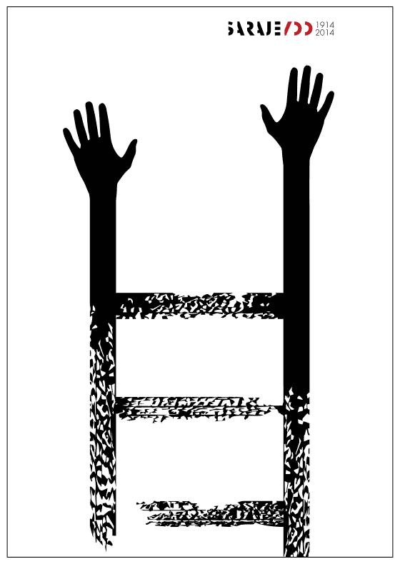 Symbolic poster of a distressed ladder becoming outstretched hands