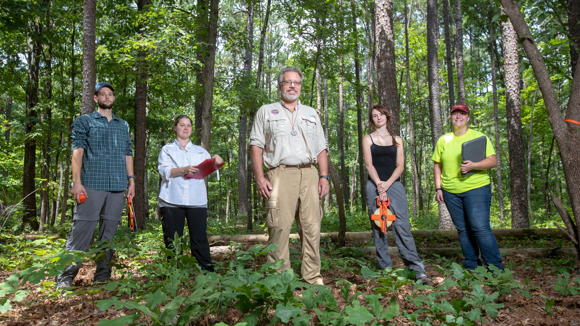 Dr. Robert Pavlowsky and students in the Mark Twain National Forest on July 17, 2018.