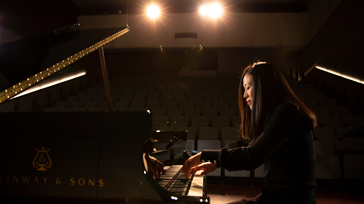 Minju Choi Witte practices at a Steinway piano in Ellis Hall