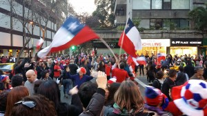 Chilean fans celebrating a World Cup victory over Spain