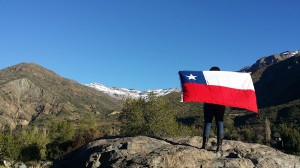Simmons waves Chilean flag near San José de Maipo