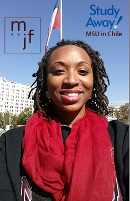 Missouri State student Briana Simmons visits the La Moneda Palace in the Republic of Chile.