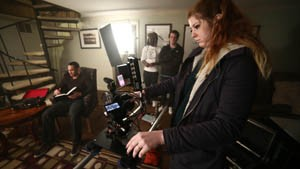 """Students shoot a scene from the film, """"Dead on Time."""""""