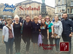 Brett Kaprelian (right) with the rest of his International Study Away group in front of St. Giles' Cathedral with First Minister Nicola Sturgeon (center).