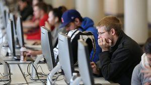 Students working online