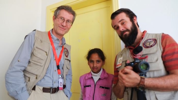 Carbon Trace Production team, filming in the Syrian refugee camps of Jordan