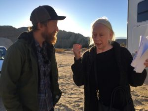 Lewis with actress Marie Mullen on set
