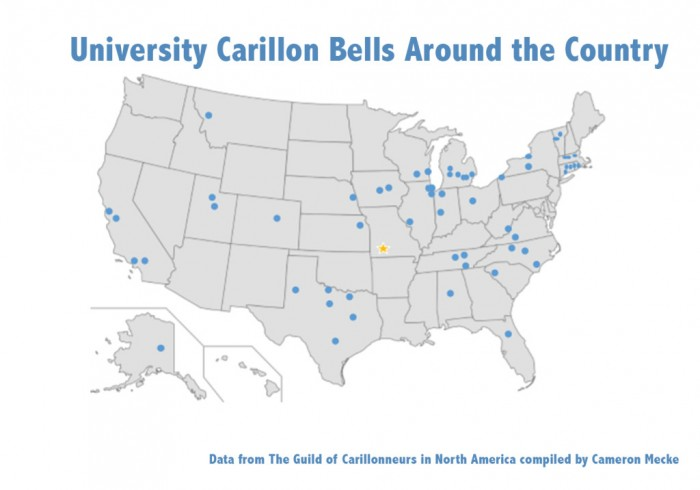 Map displaying carillons in U.S. universities