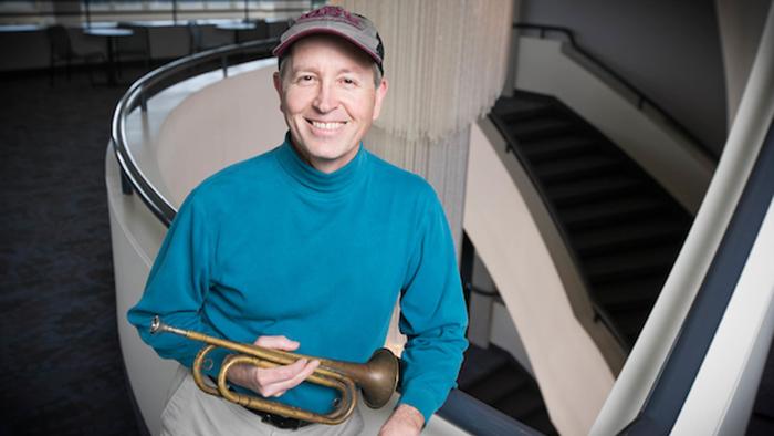 John Prescott with trumpet