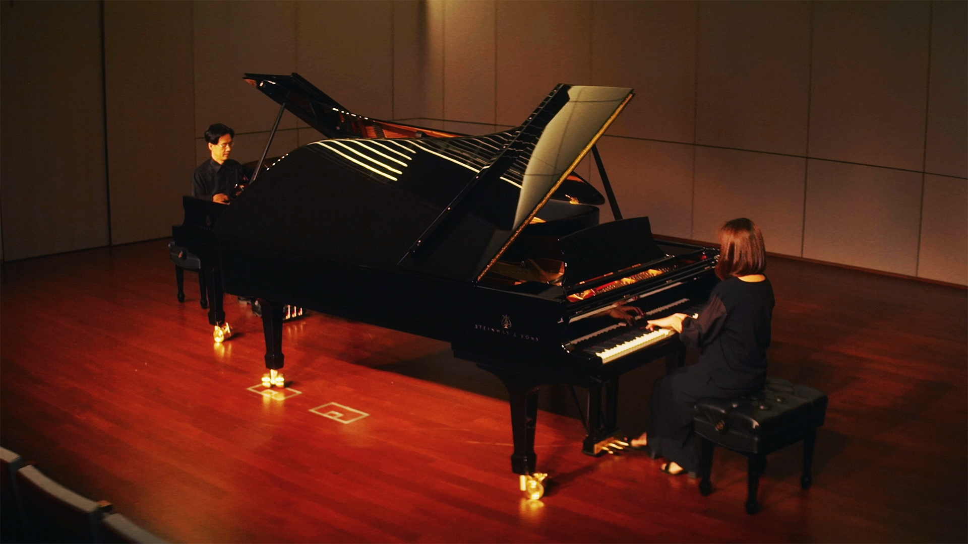 Dr. Wei-Han Su and Dr. Hye-Jung Hong performing in Missouri State's C. Minor Concert Hall.