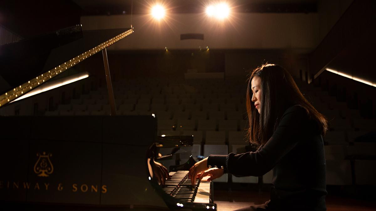 Minju Choi Witte performs under bright lights
