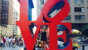 Marli at the Love sculpture in New York City