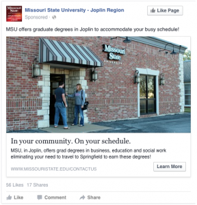 In your community. On your schedule. MSU offers graduate degrees in Joplin to accommodate your busy schedule!