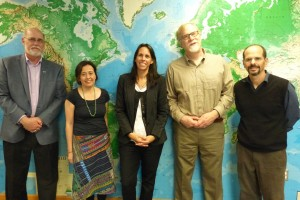 This photo was taken last week in the Political Science Department at Missouri State University. Professor Mariana Gonzalez from Argentina was hosted by the Department during a brief visit to campus last week. From left to right -- Dr. Gary Rader, Director for Missouri State Online, Dr. Indira Palacios-Valladares, Assistant Professor of Political Science, Professor Mariana Gonzalez of Rio Tercero, Argentina, Dr. George E. Connor, Department Head, and Dr. Gabriel A. Ondetti, Associate Professor of Political Science.