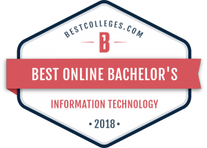 Badge for Best Online Bachelor's program, awarded by BestColleges.com