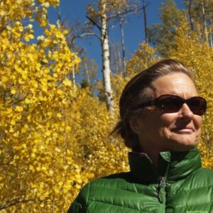 Linda Chadwick-Wirth in fall foliage