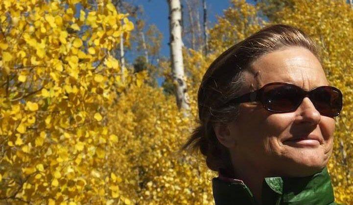 Linda Chadwick-Wirth in fall foliage